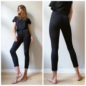 DENIM FORUM Black Distressed High Rise Crop Jeans